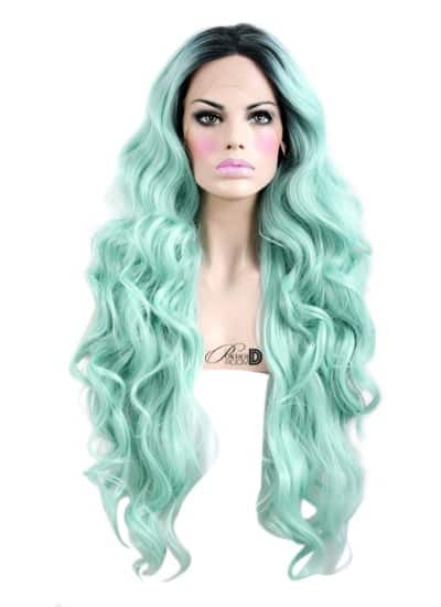 """22"""" Long Straight Mint Green Lace Front Remy Natural Hair ... 