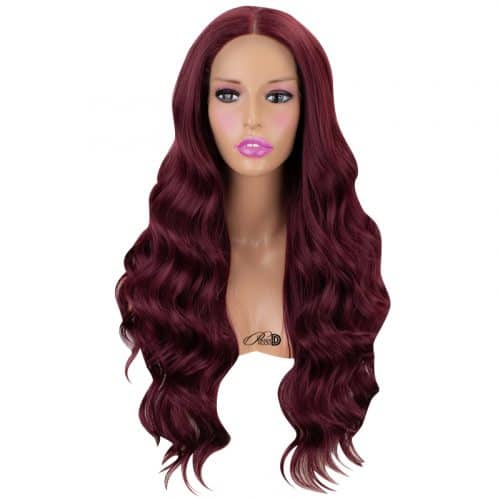 150  Density Lace Wig Heat OK Fiber Hair 99J Burgundy Long Curly Wavy Synthetic Lace Front Wig 3