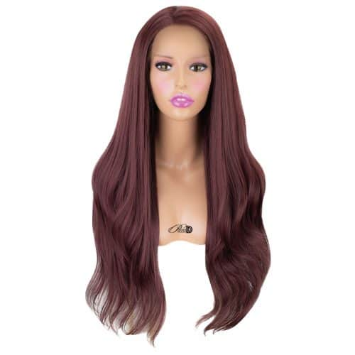 150  Density Lace Wig Heat OK Fiber Hair Auburn Brown Long Straight Wavy Synthetic Lace Front Wig 3