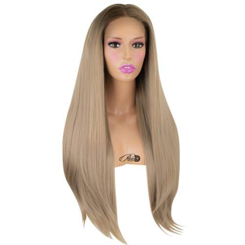 150  Density Lace Wig Heat OK Fiber Hair Ombre Blonde Long Silky Straight Synthetic Lace Front Wig 5