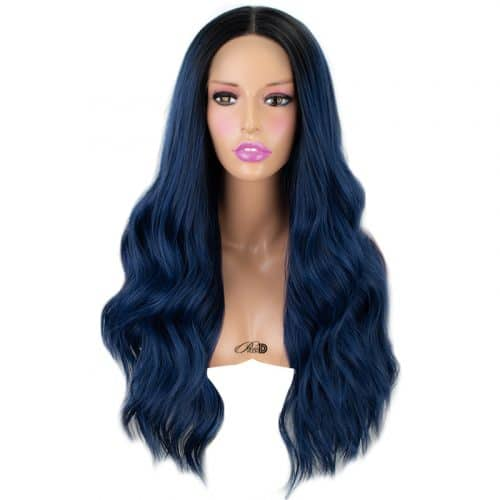 150  Density Lace Wig Heat Resistant Fiber Hair Ombre Blue Long Curly Wavy Synthetic Lace Front Wig 3
