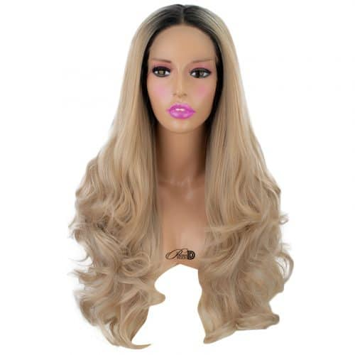150  Density Lace Wig Heat Resistant Fiber Hair Ombre Bonde Long Curly Wavy Synthetic Lace Front Wig 3