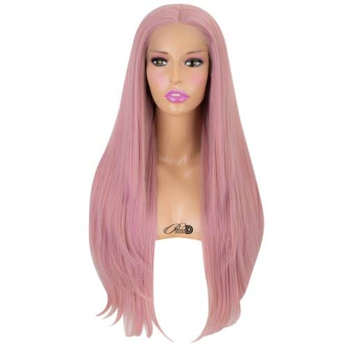 180  Density Lace Wig Heat OK Fiber Hair Patel Pink Long Silky Straight Synthetic Lace Front Wig 4