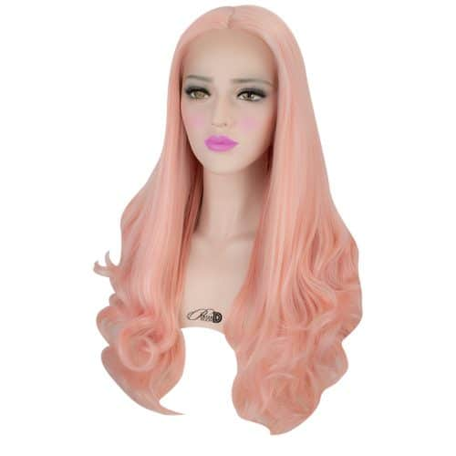 180  Density Lace Wig Heat Resistant Fiber Hair Pastel Pink Long Wavy Curly Synthetic Lace Front Wig 4