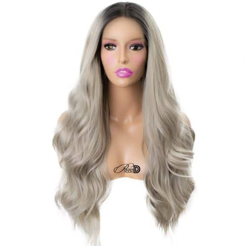 200  Density Lace Wig Heat OK Fiber Hair High Ombre Grey Long Wavy Curly Synthetic Lace Front Wig 2