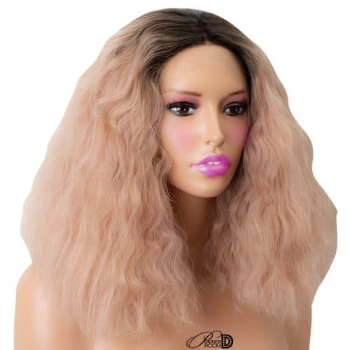 Dark Roots Ombre Pink Two Tone Short Kinky Curly Wig Heat OK Fiber Hair Synthetic Lace Front Wig 4