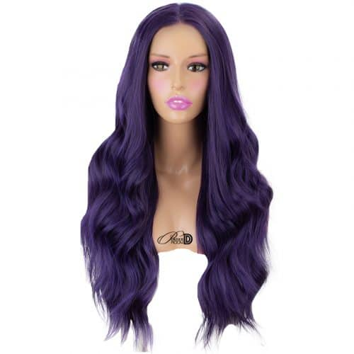 Fashion 180  Density Lace Wig Heat Resistant Fiber Hair Blue Long Curly Synthetic Lace Front Wig 3