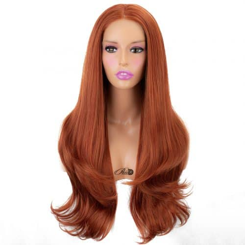 High Density Long Curly Lace Wig Heat Friendly Fiber Hair Auburn Copper Red Synthetic Lace Front Wig 3