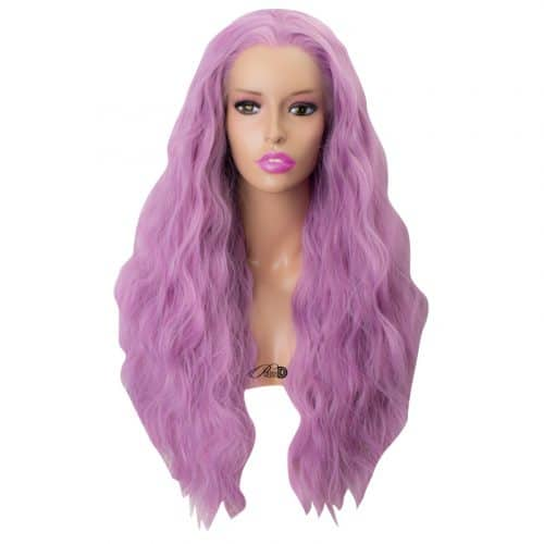 High Density Long Curly Lace Wig Heat Friendly Fiber Hair Lilac Purple Synthetic Lace Front Wig 3