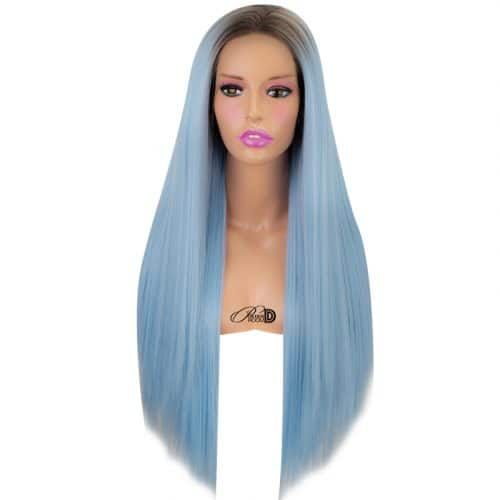 Long Straight Lace Wig Heat OK Fiber Hair Dark Roots Ombre Pastel Blue Synthetic Lace Front Wig 2